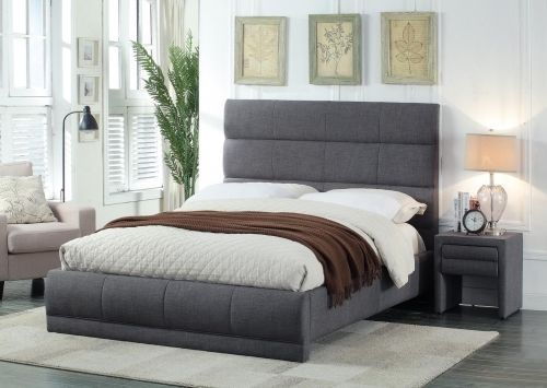 Meridian Cooper Queen Size Bed Linen Upholstered Grey Contemporary 2Night Stands