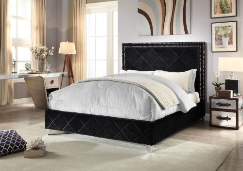 Meridian Hampton Queen Size Bed Upholstered Black Velvet Chic Contemporary Style