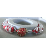 """Womens Red Beaded Bracelet Handmade 7 1/2"""" Turtle Button Clear Seed Bead... - $13.99"""