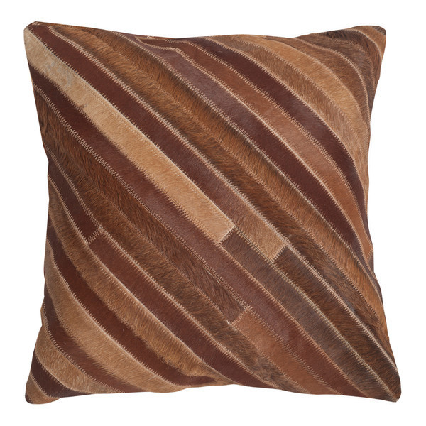 Striped Faux Fur Throw Pillow