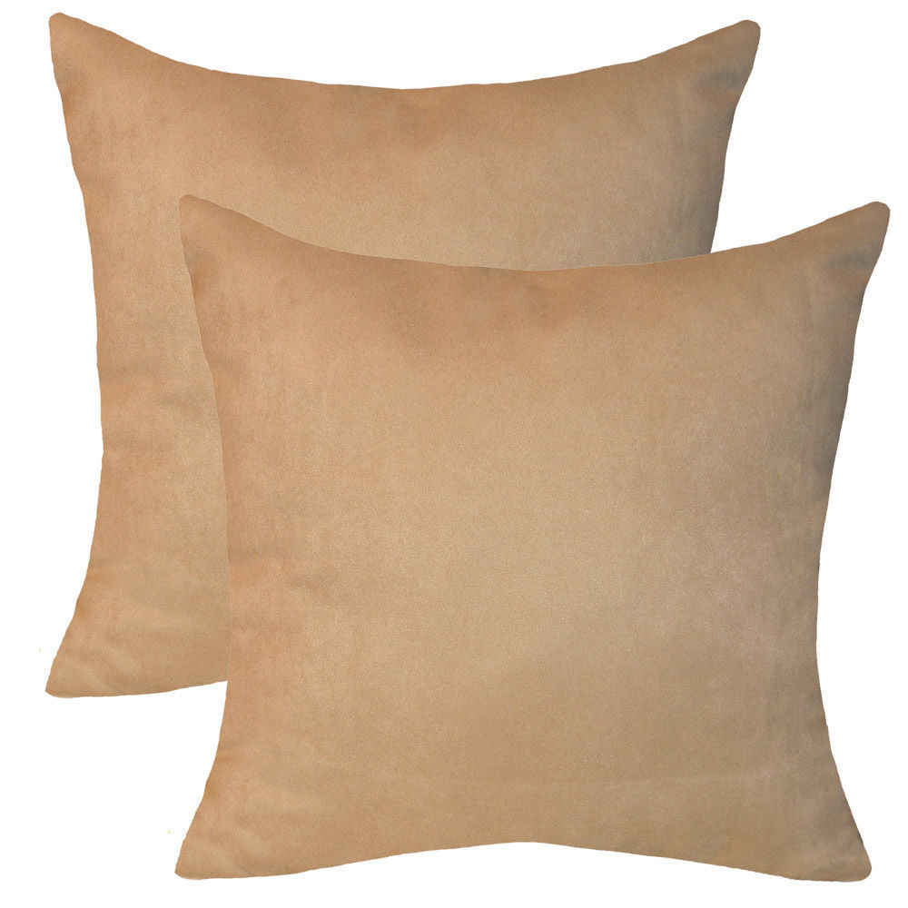 Tan Suede Throw Pillows (Set of 2)