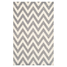 Gray and White Chevron Area Rug image 1