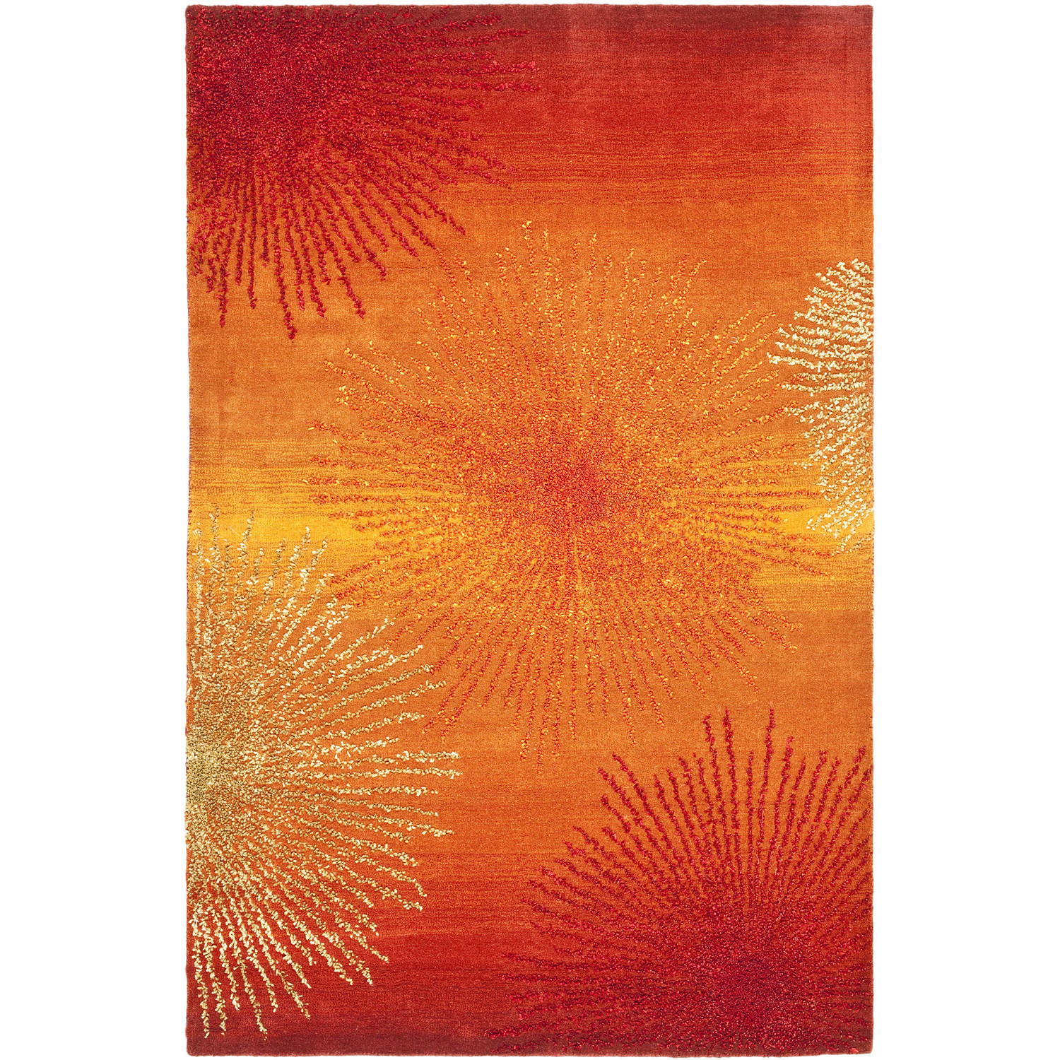 Orange Burst Area Rug