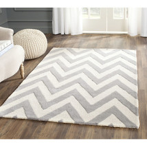 Gray and White Chevron Area Rug image 2