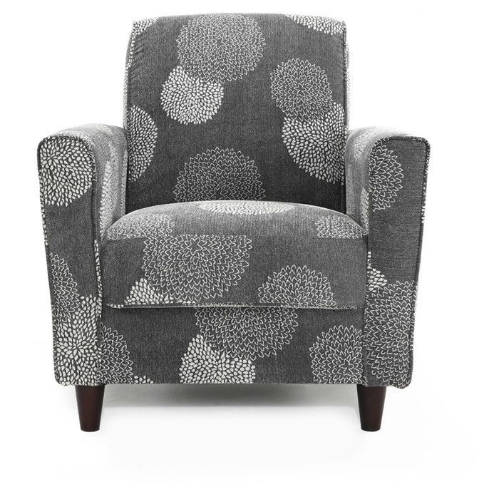Grey Floral Print Accent Chair