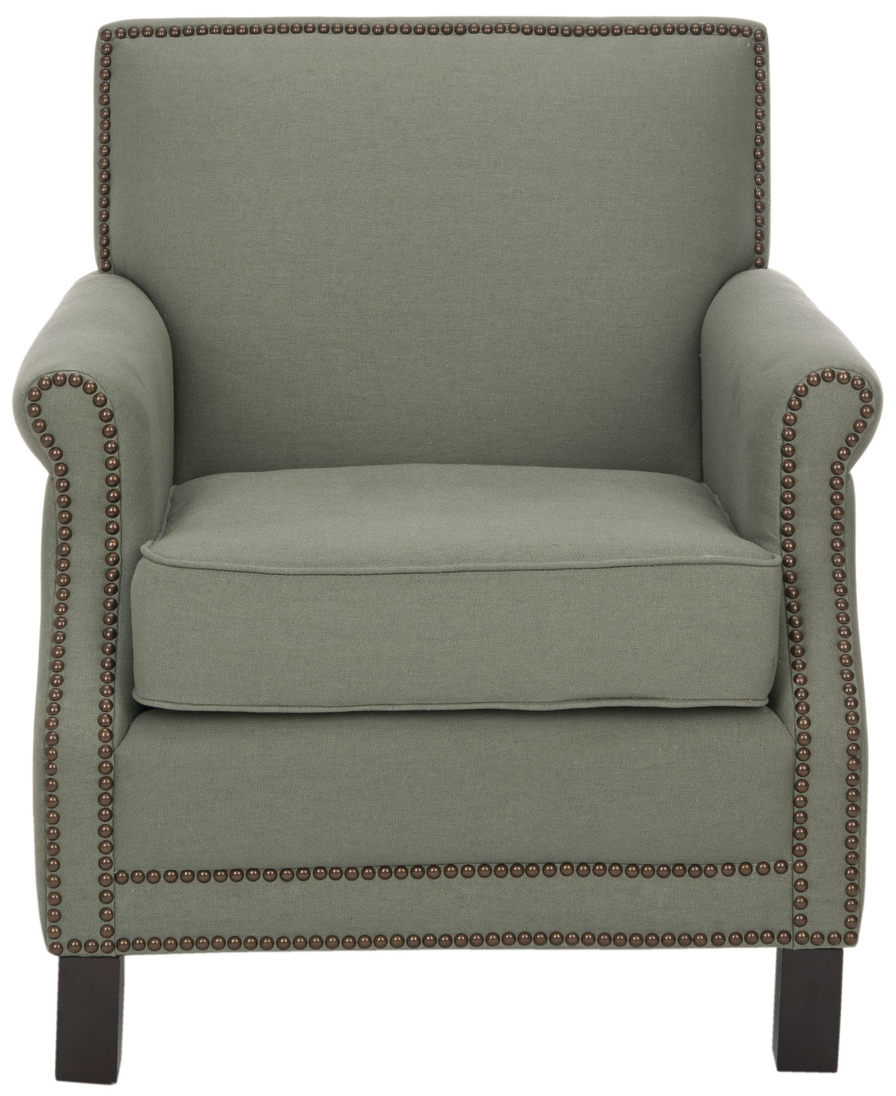 Sage Green Studded Arm Chair