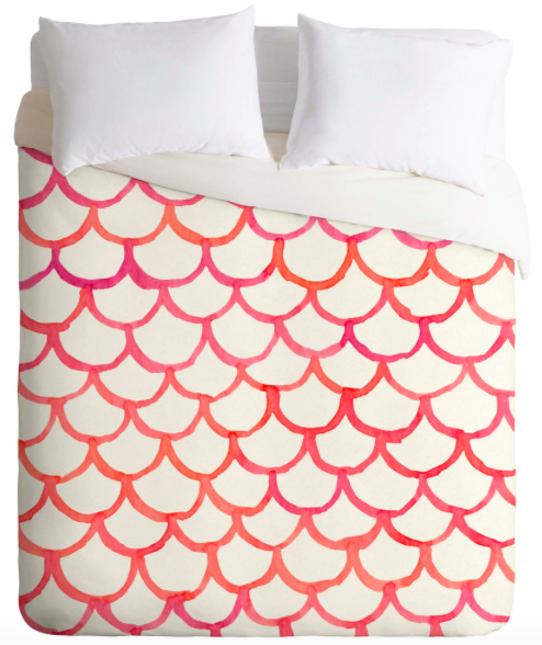 Pink Hues Watercolor Scallop Duvet Cover (Full/Queen)
