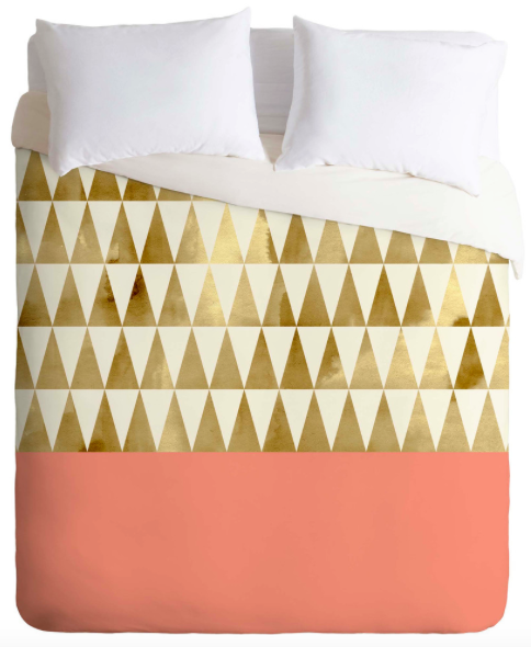 Coral and Gold Triangle Duvet Cover (Full/Queen)