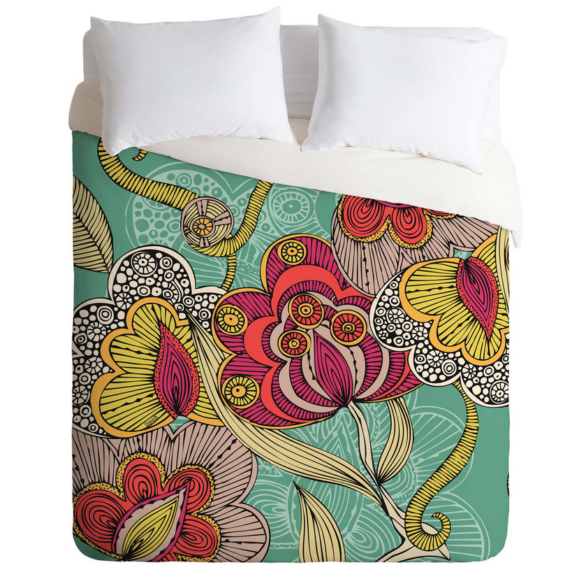 Floral Sketch Duvet Cover (Full/Queen)