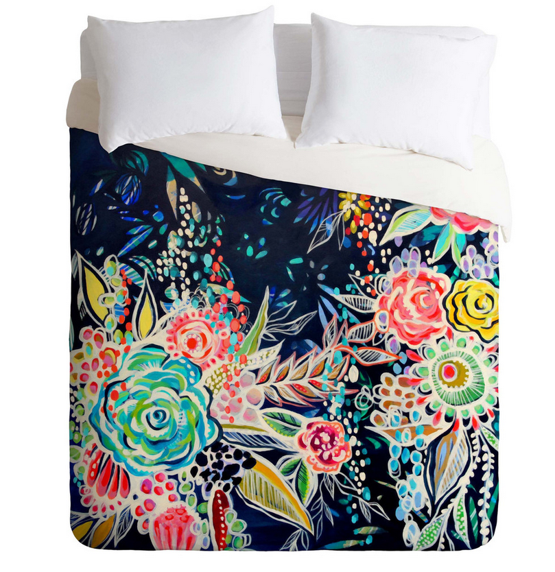 Navy Floral Duvet Cover (Full/Queen)