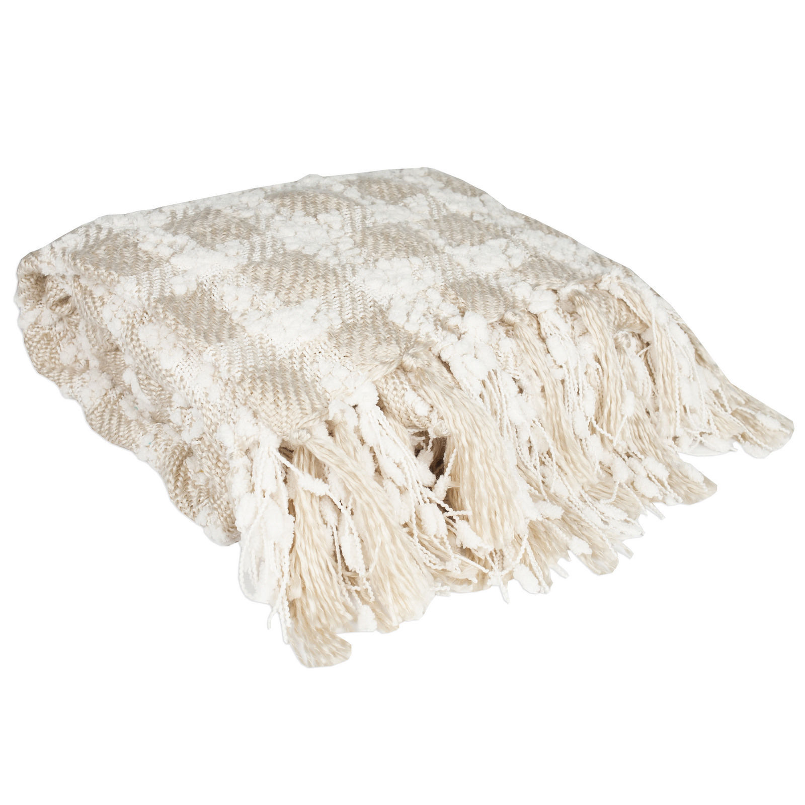 Ivory Checkered Wool Knit Throw Blanket