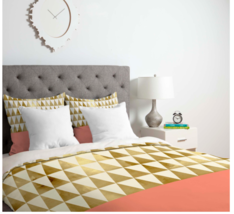 Coral and Gold Triangle Duvet Cover (Full/Queen) image 2