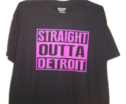 "Detroit funny black T/shirt ""Straight outta Detroight""  Neon Purple logo... - $10.99+"