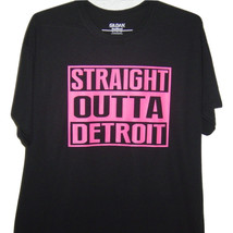 """Detroit funny black T/shirt """" Straight outta Detroit"""" With  Neon bright ... - $10.99+"""