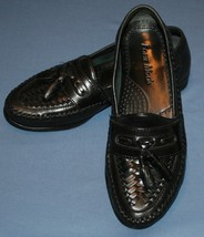 Forte Moda Sz 7D 7 D Black Leather Dress Shoes Slip On Tassle - $28.70
