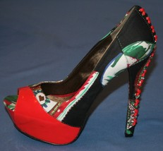 Betsey Johnson Stiletto Heels Sz 8 Fun Print Corset Platform Pumps Lace Up - $53.85