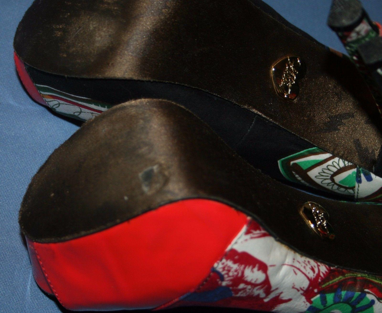 Betsey Johnson Stiletto Heels Sz 8 Fun Print Corset Platform Pumps Lace Up