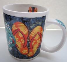 Hawaii Coffee Mug Flip Flops Hawaiian Turtle Hibiscus Collectible Cerami... - $6.95