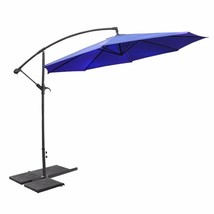 Deluxe Patio 10' Hanging Umbrella Outdoor Parasol Beach Backyard Navy Blue - $92.90