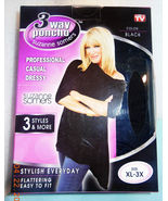 Suzanne Somers 3 Way Poncho New Black XL-3X As Seen on tv  - $14.99
