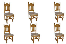 Set of Six Padded Seat Chair Real Solid Wood Rustic Western Cabin Lodge - $791.99