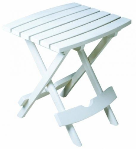 Folding Side Table Patio Garden Outdoor Outside Adams White Quick Fold Porch Out