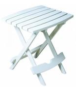 Folding Side Table Patio Garden Outdoor Outside Adams White Quick Fold P... - $37.11