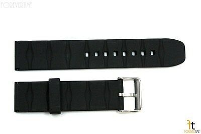 22mm Texture Italian Heavy Black Rubber Watch BAND Strap FIT LUMINOX S/S Buckle
