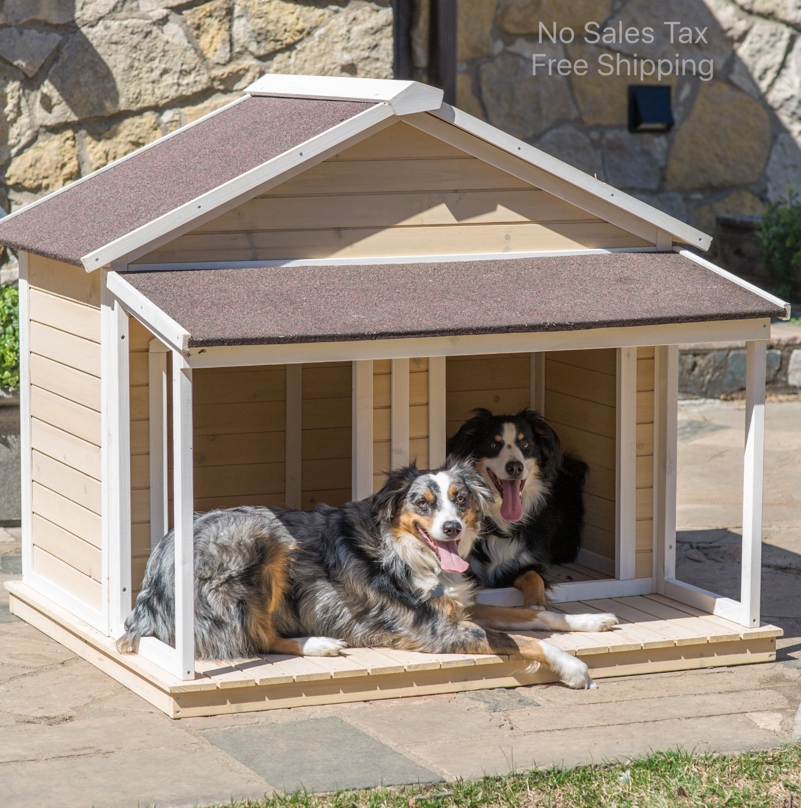 Duplex dog house double medium pet shelter cage kennel for Casas para perros