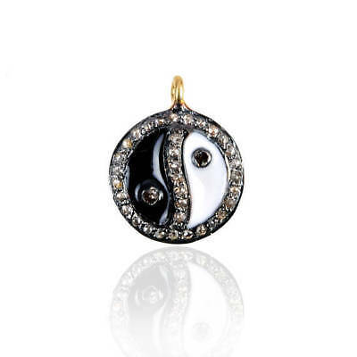 Primary image for Black & White Enamel Religious Ganesha Charm Pendant Diamond Pave Silver Jewelry