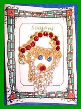 Christmas PIN #0270 Santa Claus Head/Face Rhinestone/Crystals HOLIDAY - $19.75