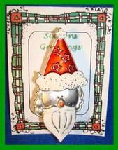 Christmas PIN #0278 VTG Santa Silvertone w/Enamel Red Hat & White Beard ... - $14.80