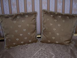 """2 REGAL GOLD NAPOLEONIC BEES FRENCH BROCADE 15.5"""" SQUARE PILLOWS CORDED ... - $130.00"""