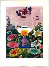 Vintage 1970 Alice in The Garden of Live Flowers Book Art Print MOD Mid Century image 2