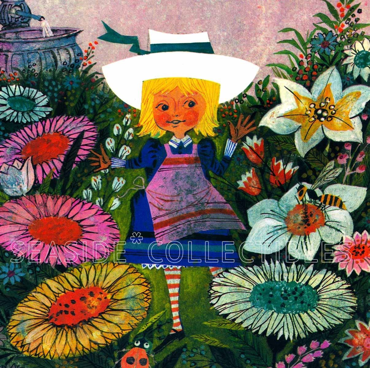 Vintage 1970 Alice in The Garden of Live Flowers Book Art Print MOD Mid Century