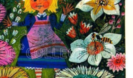 Vintage 1970 Alice in The Garden of Live Flowers Book Art Print MOD Mid Century image 6