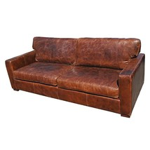 Fabulous Vintage Cigar 3 Seater Artsy  High Back Leather Sofa,87''L. - $3,810.51