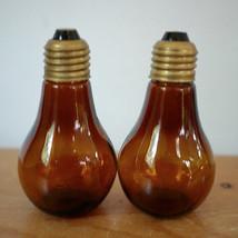 Vintage Mid Century Pop Art Amber Glass Light Bulb Salt & Pepper Shaker ... - €32,81 EUR
