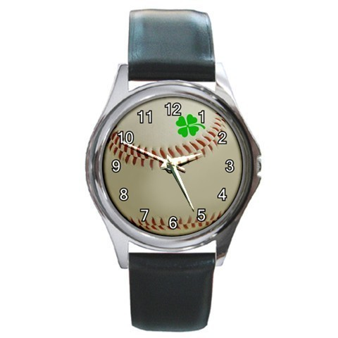 Baseball Lucky Four Leaf Clover Unisex Round Metal Watch Gift model 22692563