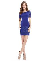 Casual Summer Royal Blue Sheath Dress With Short Sleeves - $80.00