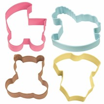 Wilton Colorful Baby Shower Metal Cookie Cutters 4 Pc Set - $5.39