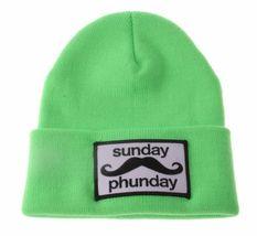 Team Phun Sunday Phunday Neon Orange Pink Yellow Green Skullie Hat Beanie Hat NW image 9
