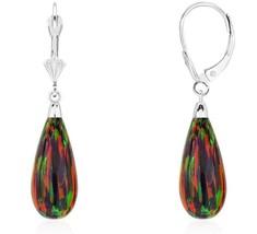 14K White Gold Tear Drop Shaped Black Fire Opal Lever back Dangle Earrings  - $108.88