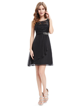 Black Lace Bodice Chiffon Cocktail Dresses With Beaded Waist - $85.00