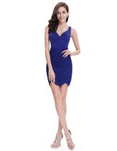 Elegant Royal Blue Short Sheath Lace Cocktail Dress With Straps - $85.00