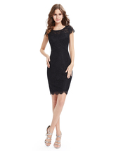 Black Lace Sheath Cocktail Party Dress With Cap Sleeves - $85.00