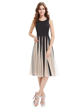 Black And Champagne Midi Length Cocktail Dress With Tulle Skirt - $110.00