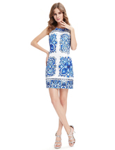 White Short Bodycon Mini Summer Dress With Blue Floral Print - $85.00