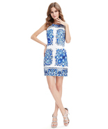White Short Bodycon Mini Summer Dress With Blue Floral Print - $112.86 CAD