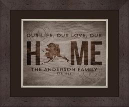Personalized State of Alaska - Family State of Love 15 x 18 Matted/Frame... - $49.95